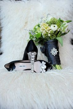 black jeweled heels green white bouquet by Green Pomme Photography + Kailey Michelle Events as seen on wedding obsession #Black #Green #white #modern