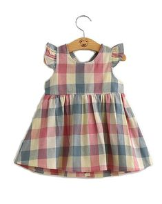 Buy Kebaner Girls Plaid Pink Dress Halter Backless Fly Sleeve Baby Dresses Special Occasion - ✓ FREE DELIVERY possible on eligible purchases Dresses Kids Girl, Toddler Girl Outfits, Baby Girl Dresses, Kids Outfits, Baby Dress Patterns, Baby Clothes Patterns, Baby Sewing, Pink Dress, Doll Clothes