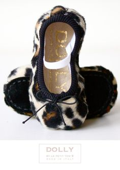 'Cheetah' Leopard plush print. What;s Dolly's shoe collection without this classic, daring animal print ballerina for your baby. Wear with our cream tutu and black 'Pearled Up' Cardigan for a catwalk look and very comfortable at the same time..from DOLLY by Le Petit Tom ®