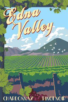 Edna Valley vintage travel poster by Steve Thomas