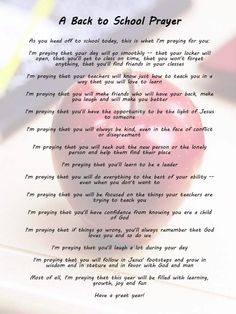 A Back to School Prayer...For my daughter going to Middle School...growing up so fast...Love you Citlahli! :')