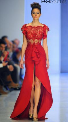 # Sensuous Red Couture Dress 2137 by Fouad Sarkis #openfrontskirt #redcouturedress #redeveningdress #fouadsarkis