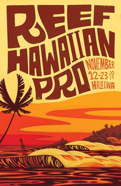 Erik Abel creates the artwork for the 2014 Reef Hawaiian Pro in Haleiwa, on the North Shore of Oahu, Hawaii for the first stop of the Vans Triple Crown of Surfing
