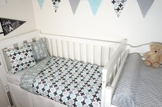Black grey and aqua crosses and arrows nursery set by MamaAndCub