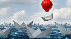 business advantage concept and game changer symbol as an ocean with a crowd of paper boats and one boat rises above the rest with a red balloon as a success and innovation metaphor for new thinking. College Resume, Bathroom Decor Sets, Shower Curtain Sets, Game Changer, Light Art, Light Blue, Happy Life, Innovation, Balloons