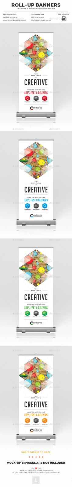 Creative Roll-Up Banner  — PSD Template #sign #signage • Download ➝ https://graphicriver.net/item/creative-rollup-banner/18072109?ref=pxcr