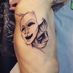 Happy And Sad Clown Faces Tattoos Grey Ink Drama Masks Tattoo On