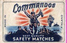 Commandos Tulitikku Oy #commandos #labels #matches #etiketit #tulitikkuetiketit Finland, Movies, Movie Posters, Films, Film Poster, Cinema, Movie, Film, Movie Quotes