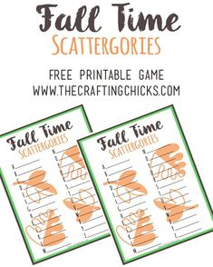 Fall Scattergories Game & Free Printable Fall Party Games, Fall Games, Thanksgiving Activities, Autumn Activities, Thanksgiving Crafts, Halloween Class Party, Happy Halloween, Activities For Adults, Group Activities
