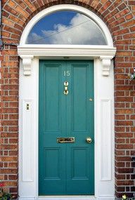 Beautiful teal front door - we live in a subdivision where every house is red brick; I think I want to paint my front door a fun teal color, and freshen up the white trim. Teal Front Doors, Teal Door, Front Door Paint Colors, Exterior Front Doors, Painted Front Doors, House Paint Exterior, Exterior Paint Colors, Paint Colors For Home, House Colors