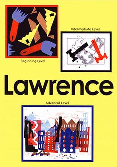 Lawrence Art Projects for Kids:  The abstract art of contemporary American artist, Jacob Lawrence, enhances Black History Month. His art of bright patterns and shapes portrayed life in America through the eyes of this artist. The beginning and intermediate student artists explore tool shapes and the advanced artists create a cityscape.