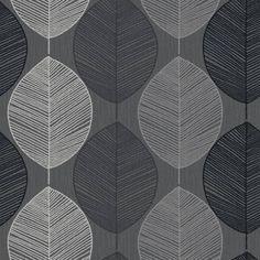 Black / Silver / Taupe - 408201 - Retro Leaf - Motif - Arthouse Wallpaper