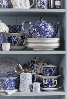 Burleigh Calico Mixed pottery on our lovely sage dresser Deep Blue Calico ~ quintessential English country crockery