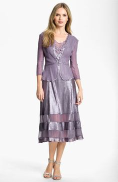 Komarov Sheer Panel Charmeuse Dress & Chiffon Jacket available at #Nordstrom Of coarse the dress I would love to wear for the wedding is out of my budget.
