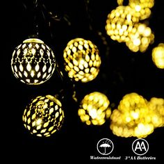 RECESKY Battery Operated Moroccan Ball String Lights 40 LED 25.8ft Waterproof Lantern Decor lighting for Outdoor Indoor Garden Patio Yard Home House Party Curtain Christmas Decorations (Warm White)