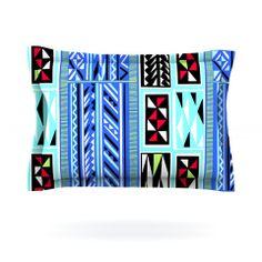 "Vikki Salmela ""American Blanket Pattern"" Cotton Pillow Sham | KESS InHouse #new #sale #ethnic #native #geometric #modern #blue #aqua #black #stripe #graphic for your #cool #cotton #pillow #shams for #bed #bedroom #home #decor to coordinate with #duvet #cover by #vikkisalmela #polkadotstudio"