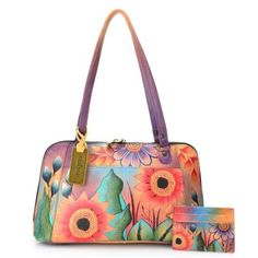 62565e9dcc9f Anuschka Hand-Painted Leather Zip Around Satchel w  Pouches