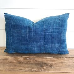 """Audrey"" Indigo (Medium) Authentic African Mud cloth Pillow Cover - Linen and Ivory"