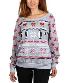 Heather Gray Penguins & Bows Boatneck Sweatshirt - Plus | zulily