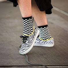 ed6e027e3ec3fa Pattern play  the Checkerboard Crew Sock and Zebra Authentic. Tenis Vans