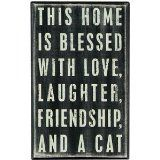 Boxed Wall Sign Friendship Cat
