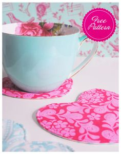 free pattern for heart shaped coasters... perfect for a bridal shower I'm going to this weekend!