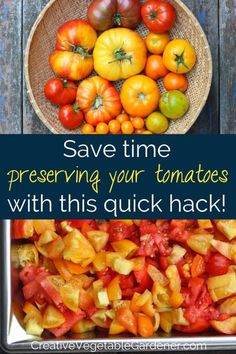 Use this method for preserving tomatoes and save time, energy, and money. Includes a short step-by-step bonus video shot in my garden and kitchen! #gardening #vegetablegarden #tomatoes #preserving Kitchen Gardening, Gardening Tips, Preserving Tomatoes, Real Food Recipes, Cooking Recipes, Fruits And Veggies, Vegetables, How To Make Compost, Canning Pickles