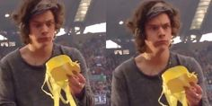 Harry Styles - bra thrown on stage, he grabs it, sees what it is and throws it back to the audience! his face though...