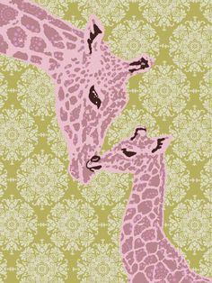 5a823c753e452d PINK GIRAFFE art print for babies nursery by pitterpatterpress, $25.00 Baby  Giraffes, Pink Giraffe