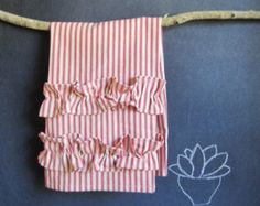 ruffled linen towel | Popular items for striped tea towels