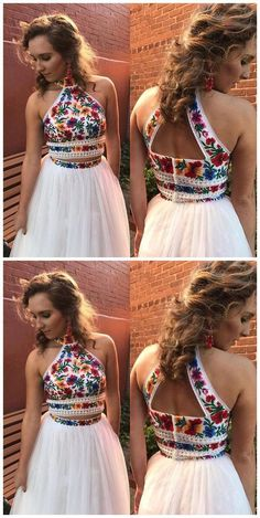 High Neck Two Piece Floral Embroidery White Long Prom Dress,Prom Dresses,Evening dress, Shop plus-sized prom dresses for curvy figures and plus-size party dresses. Ball gowns for prom in plus sizes and short plus-sized prom dresses for Floral Prom Dresses, Prom Dresses Two Piece, Formal Dresses For Women, Homecoming Dresses, Cute Dresses, Beautiful Dresses, Dress Prom, Prom Gowns, Maxi Dresses