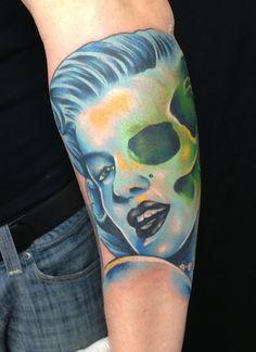Marilyn Monroe/Skeleton Portrait Tattoo by Brandon Notch...