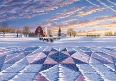 Barns, quilts, snow, holstein cattle- love it. Field of Star by Rebecca Barker. Rebecca's books make beautiful coffee table books even if you never make a quilt from them.