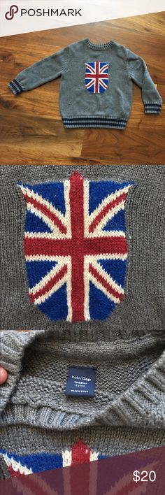 Baby GAP Union Jack Sweater Size 2 Baby GAP Union Jack Sweater Size 2. Adorable boys sweater. A girl could wear it too. Toddler size 2. worn once. From a non-smoking and pet free home. Gap Shirts & Tops Sweaters