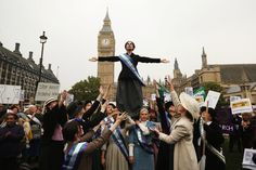 Campaigners, some dressed as suffragettes, attend a rally organized by UK Feminista to call for equal rights for men and women on October 24, 2012 in London, England. Hundreds of women from around the UK congregated in Westminster to attend a rally and lobby their local MPs to demonstrate against any legislation that damages women's rights. 53 Algeria, 1998
