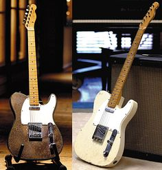 Buck Owen's Telecaster with custom crushed mirror-gold finish and a '50s Fender Telecaster.