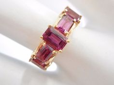 SALE Genuine 14k Yellow Gold Emerald Cut Rhodolite Garnet Band Ring Sz 6 #1249 #Band Check out this item and more at mmjewelersknoxville on eBay!