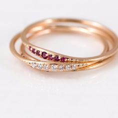 White diamond tiny line band and Ruby Tiny line band in rose gold, handmade stacking rings by Melanie Casey Jewelry Gold Pearl Ring, White Gold Rings, Gold Diamond Wedding Band, Rose Gold Engagement Ring, Ruby Jewelry, Gold Jewelry, Jewellery, Diamond Jewelry, Fine Jewelry