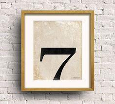 Number Seven Art Print Numerology Vintage Number by SpoonLily