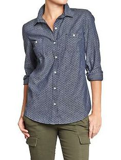 Womens Pin-Dot Chambray Shirts