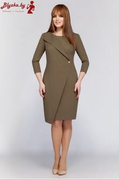 DilanaVIP dress, khaki (model – Belarusian knitwear in the Sewing Tradition online store - Kleidung Ideen Simple Dresses, Casual Dresses, Dresses For Work, Dress Outfits, Fashion Dresses, Winter Mode, Western Dresses, Mode Inspiration, Couture Dresses