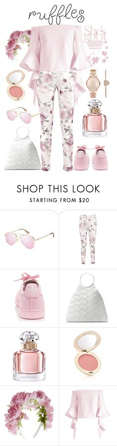 """Rose💗 ruffles"" by ela79 ❤ liked on Polyvore featuring Le Specs Luxe, Boohoo, adidas, Michael Kors, Guerlain, Jane Iredale, Monsoon and Chicwish"