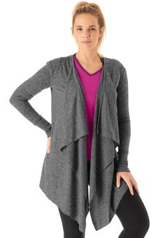 Top off your active ensemble with this fashionable plus size waterfall cardigan. It's the must have silhouette of the season and will take you beyond the…