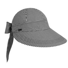 Picnic-perfect cotton twill owns the scene all season in this every-year classic cap from Betmar, the fabulous Face Framer. An elastic back topped by a long-tailed bow and oversized peak shades you smartly, as evidence by a UPF rating. The Betmar Fa Caps For Women, Clothes For Sale, Sun Hats, Gingham, Bows, Black And White, Face, Fashion Caps, Picnic