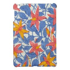 Cute Vintage Blue and Coral Girly Retro Floral iPad Mini Cases