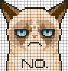 Free Grumpy Cat pattern here. Only downside is that it's made for perler beads so you need to figure out the DMC colors yourself. But the upside is that it's Grumpy Cat. Pixel Art Naruto, Pixel Art Pikachu, Pixel Art Kawaii, Kandi Patterns, Perler Patterns, Beading Patterns, Embroidery Patterns, Bracelet Patterns, Beaded Cross Stitch