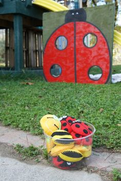 Lady bug beanbag toss game for a lady bird birthday party. Cool game idea.
