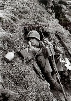 American radio operator in Italy, 1943.