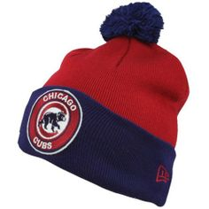 8917a799b45 Chicago Cubbies Hats   New Era Chicago Cubs Circle Knit Beanie - Red Royal  Blue by New Era.  19.95. Contrast team-colored pompom on top. Imported.