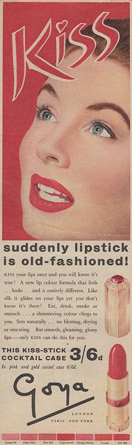 Goya British lipstick ad. In seven shades. All red. Excellent.
